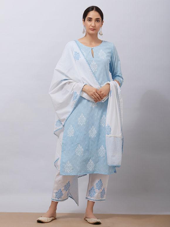 White Sky Blue Hand Block Printed Mul Dupatta