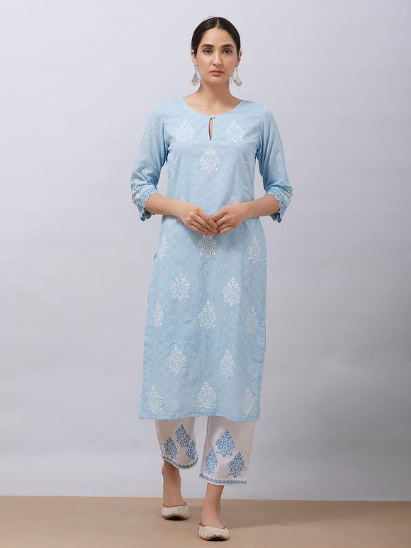Sky Blue Hand Block Printed Cotton Kurta with White Pants and Mul Dupatta - Set of 3
