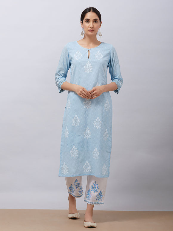 Sky Blue Hand Block Printed Cotton Kurta