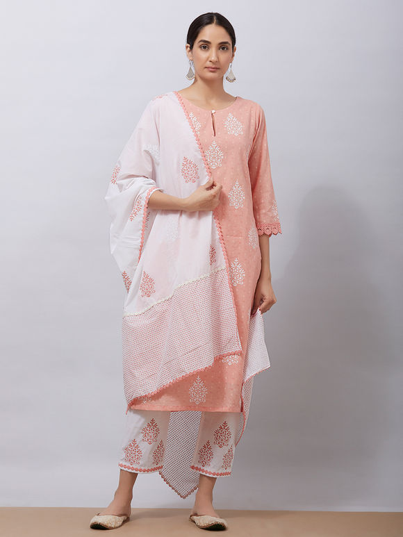 Peach Hand Block Printed Cotton Kurta with White Pants and Mul Dupatta - Set of 3