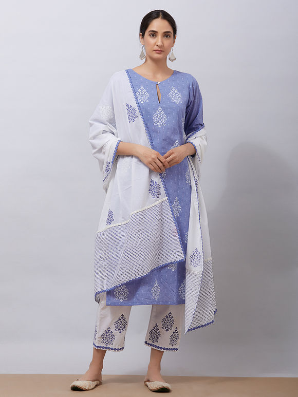 Purple Hand Block Printed Cotton Kurta with White Pants and Mul Dupatta - Set of 3
