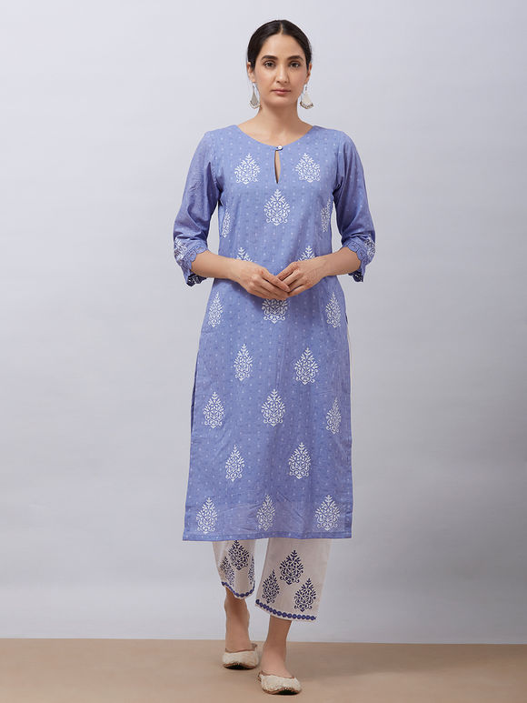 Purple Hand Block Printed Cotton Kurta