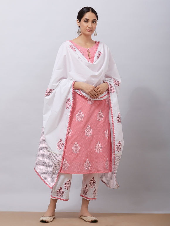 Pink Hand Block Printed Cotton Kurta with White Pants and Mul Dupatta - Set of 3