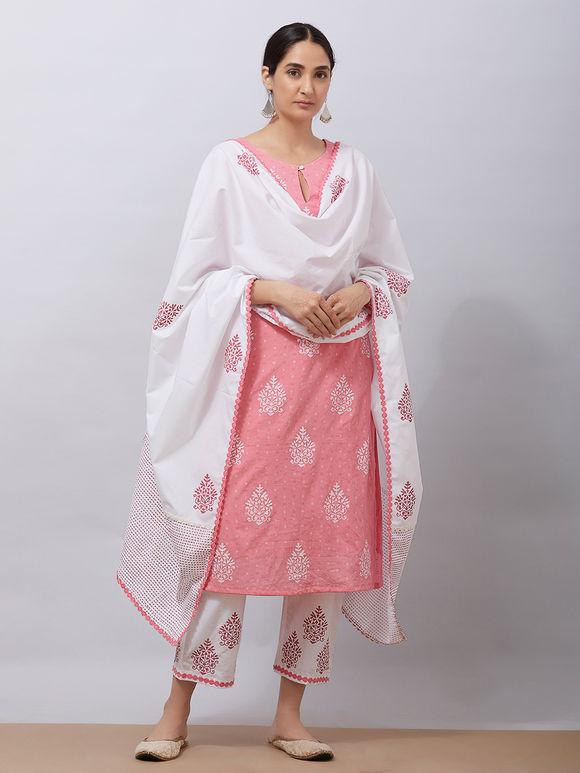 White Pink Hand Block Printed Mul Dupatta