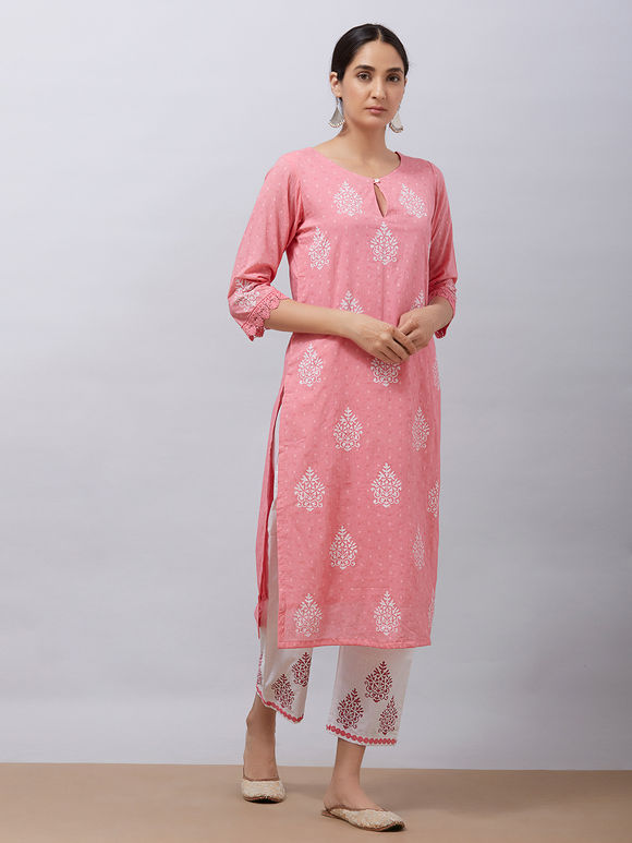 Pink Hand Block Printed Cotton Kurta