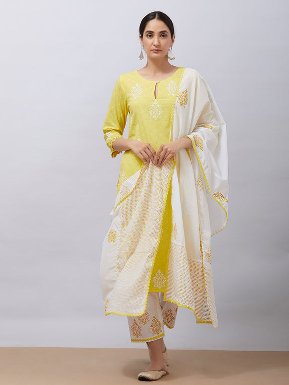 Yellow Hand Block Printed Cotton Kurta with White Pants and Mul Dupatta - Set of 3
