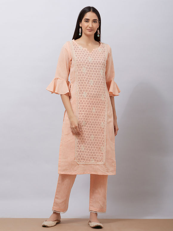 Peach Hand Block Printed Khadi Cotton Kurta with Pants - Set of 2