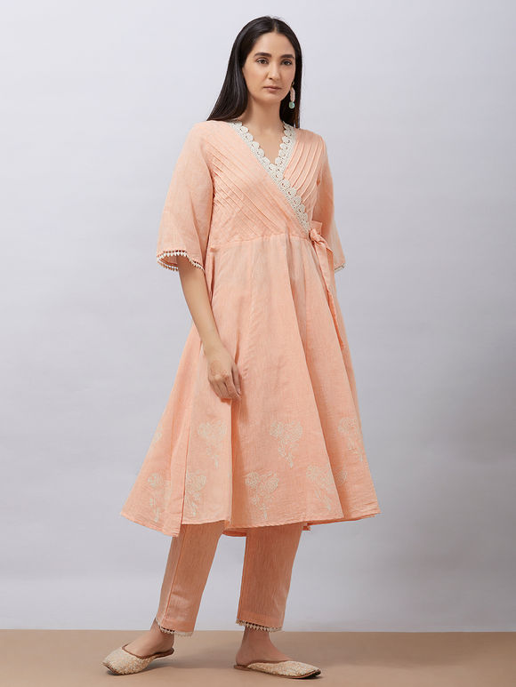 Peach Hand Block Printed Khadi Cotton Warp Anarkali Kurta with Pants - Set of 2