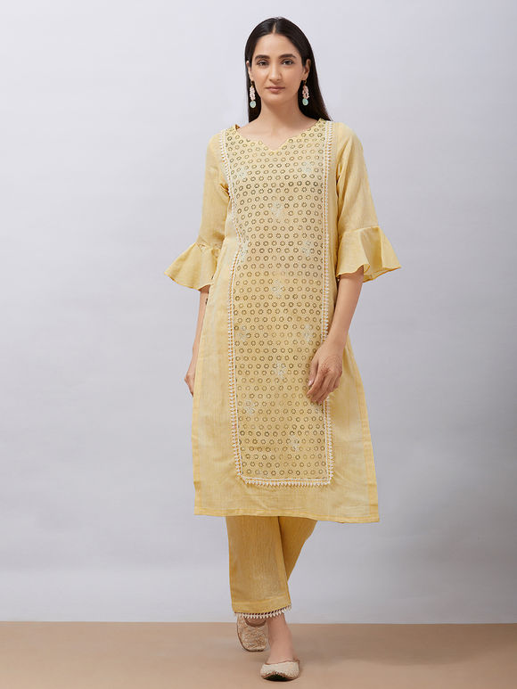 Yellow Hand Block Printed Khadi Cotton Kurta with Pants - Set of 2