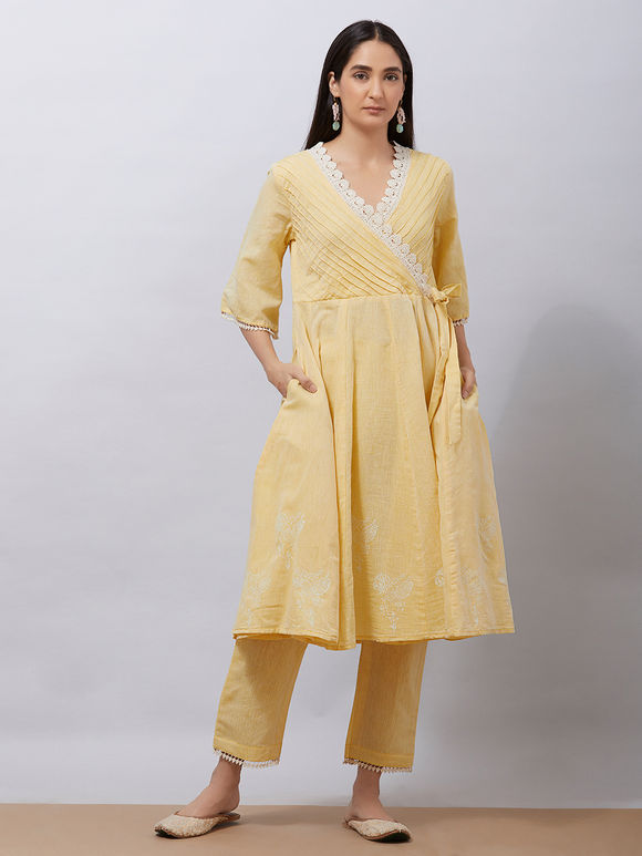 Yellow Hand Block Printed Khadi Cotton Warp Anarkali Kurta with Pants - Set of2