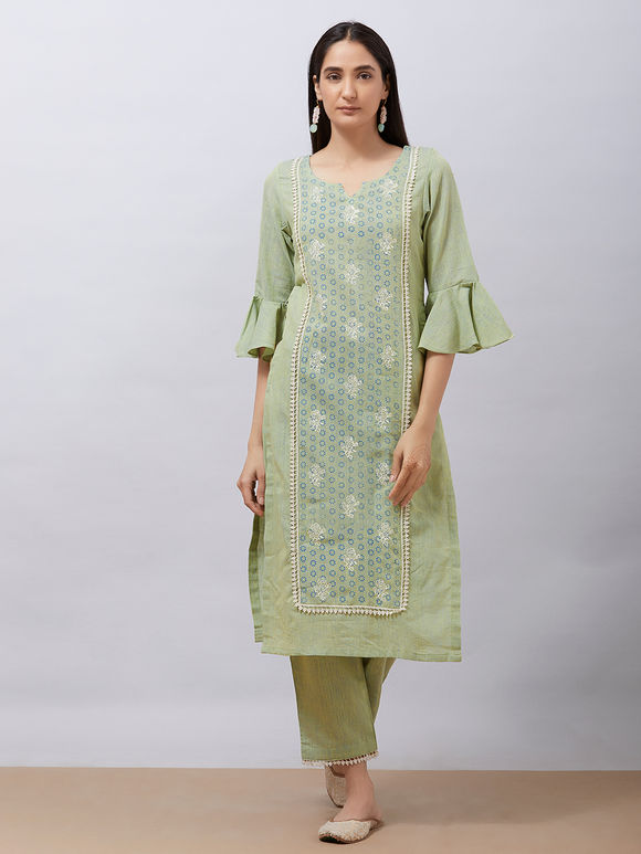 Green Hand Block Printed Khadi Cotton Kurta with Pants - Set of 2