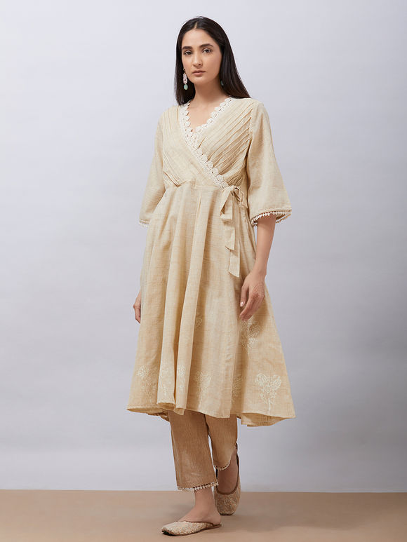 Beige Hand Block Printed Khadi Cotton Warp Anarkali Kurta with Pants - Set of2
