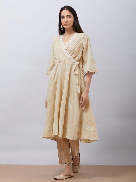 Beige Hand Block Printed Khadi Cotton Warp Anarkali Kurta