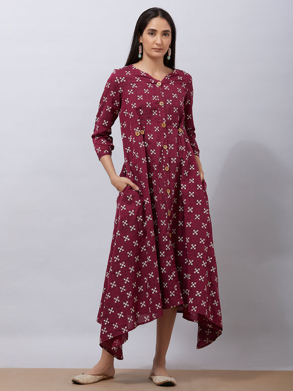 Maroon Hand Block Printed Handloom Cotton Asymmetric Dress