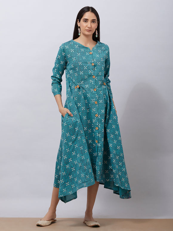Teal Blue Hand Block Printed Cotton Asymmetric Dress