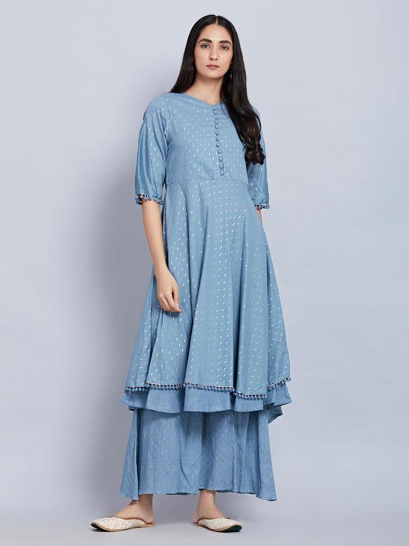 Blue Cotton Kurta with Palazzo and Yellow Hand Block Printed Chanderi Dupatta- Set of 3