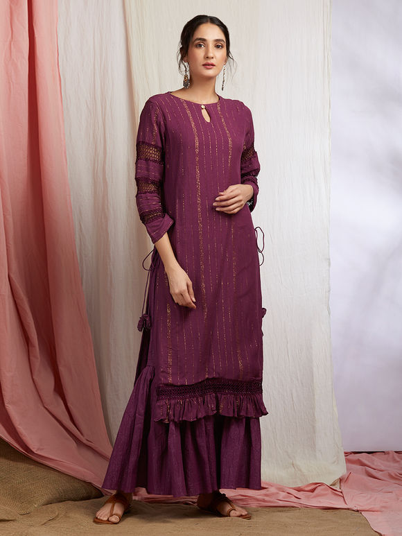 Purple Golden Striped Cotton Kurta with Sharara and Pink Hand Block Printed Chanderi Dupatta- Set of 3