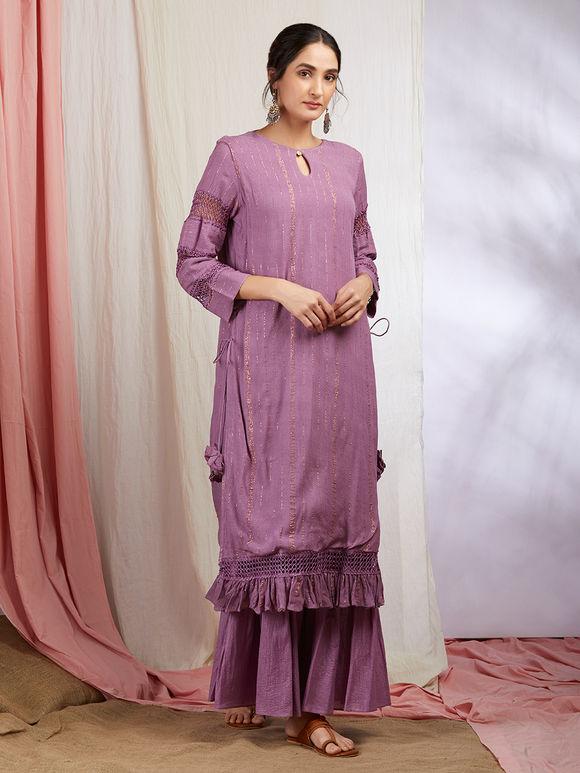 Mauve Golden Striped Cotton Kurta with Sharara and Purple Hand Block Printed Chanderi Dupatta- Set of 3