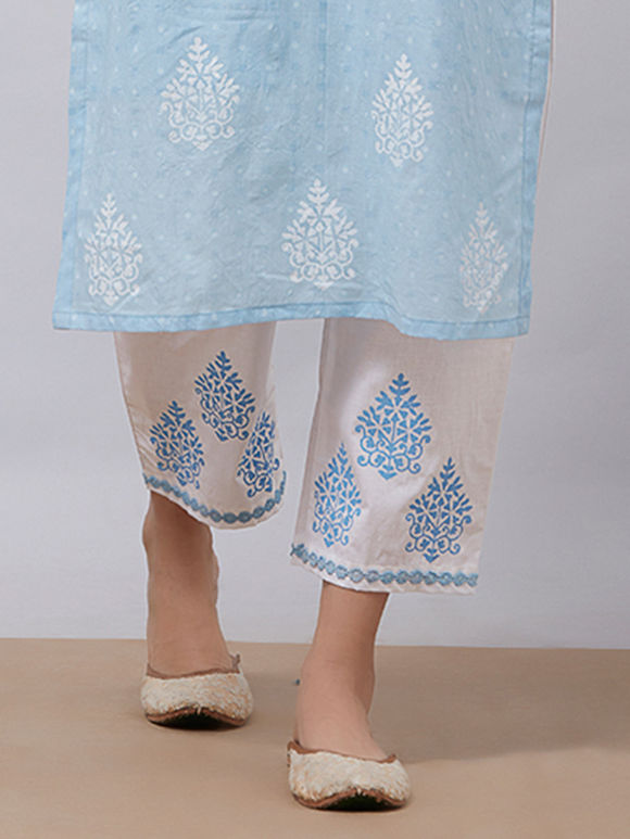 White Blue Hand Block Printed Cotton Pants