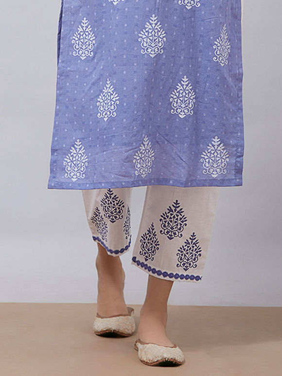 White Purple Hand Block Printed Cotton Pants