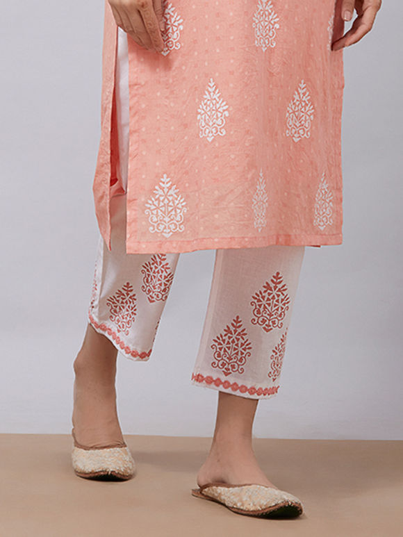 White Peach Hand Block Printed Cotton Pants