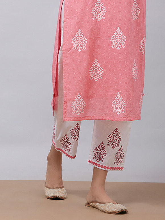 White Pink Hand Block Printed Cotton Pants