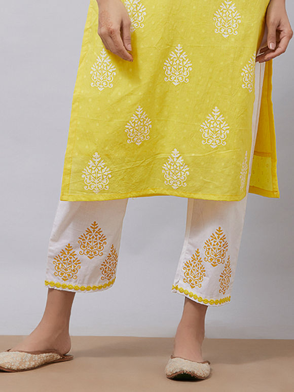 White Yellow Hand Block Printed Cotton Pants