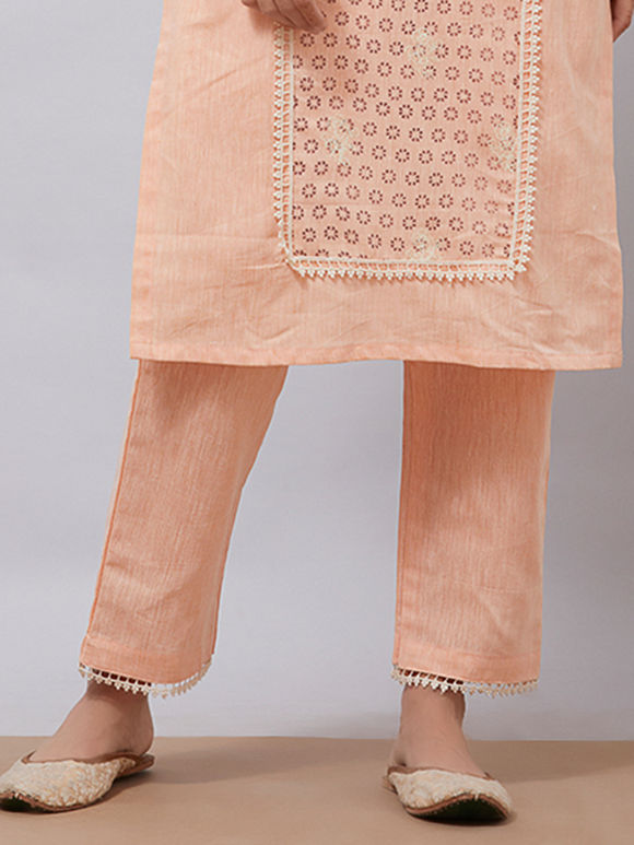 Peach Khadi Cotton Pants