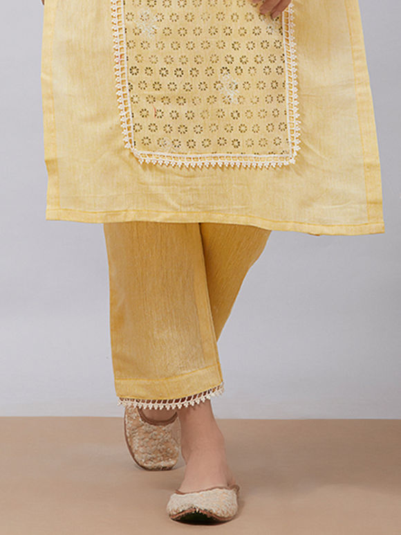 Yellow Khadi Cotton Pants