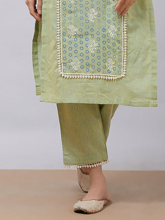 Green Khadi Cotton Pants