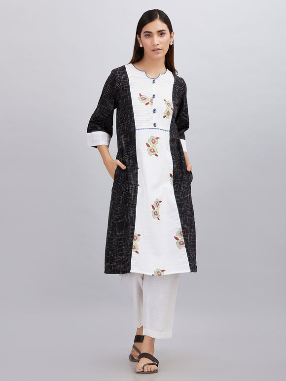 White Black Hand Block Printed Khadi Cotton Kurta with Pants - Set of 2