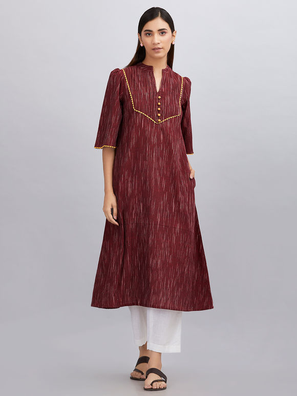 Maroon Khadi Cotton A- line Kurta with White Pants - Set of 2