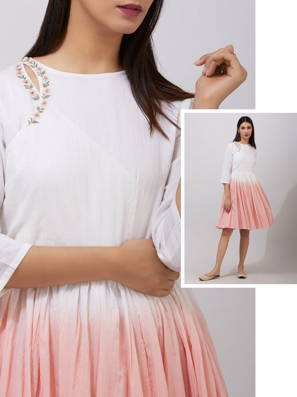 Off White Peach Ombre Organic Cotton Gathered Dress