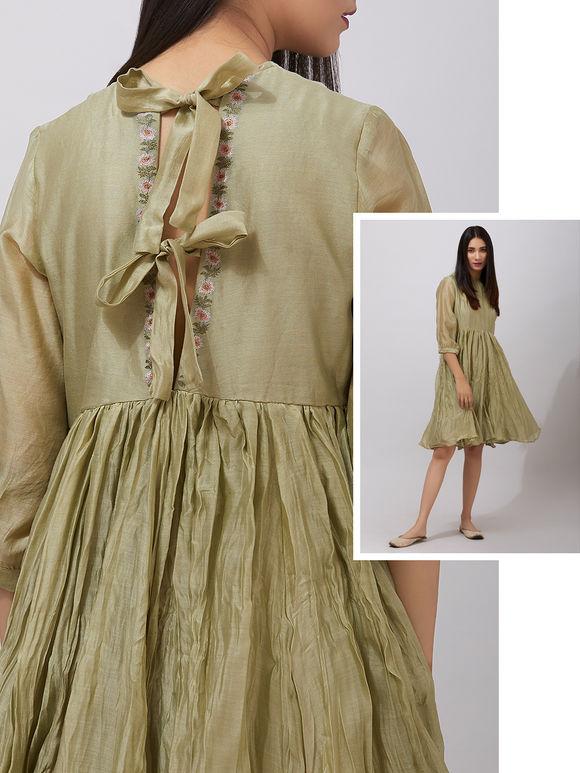 Olive Green Chanderi Gathered Dress