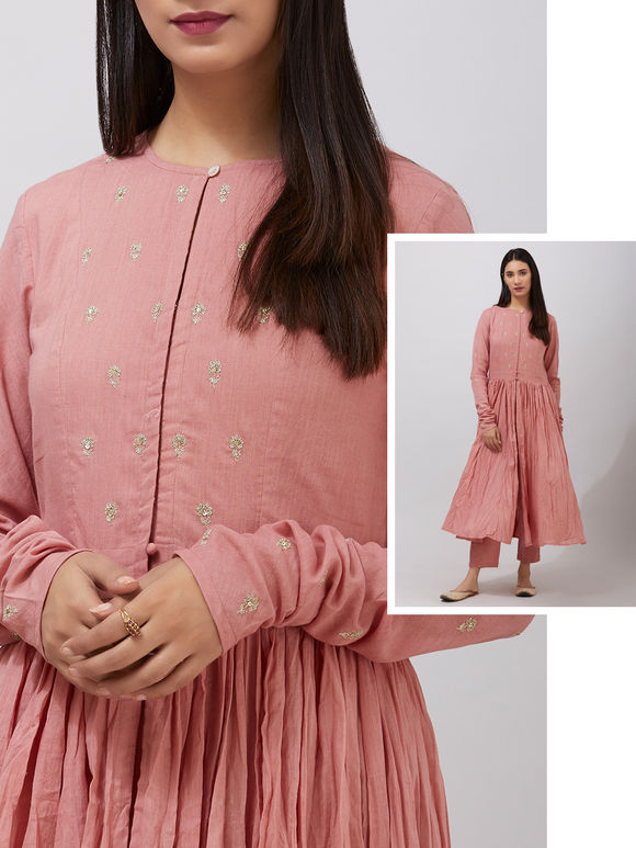 Old Rose Dabka Embroidered Organic Cotton Gathered Cape with Pants - Set of 2