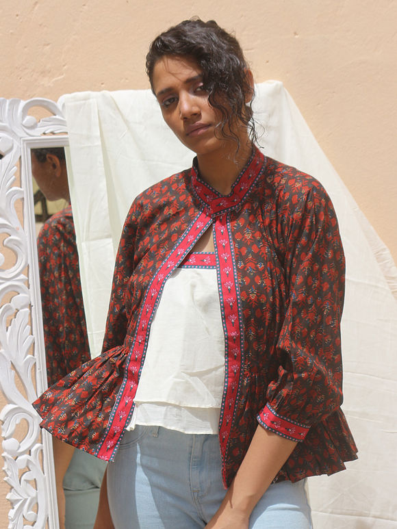 Off White Double Layered Cotton Mulmul Tube Top with Brown Red Hand Block Printed Jacket - Set of 2