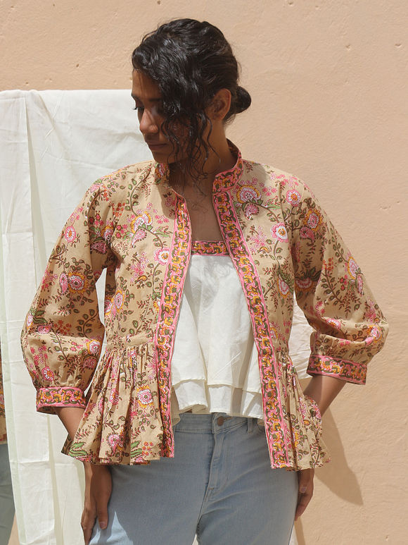 Off White Double Layered Cotton Mulmul Tube Top with Beige Hand Block Printed Jacket - Set of 2