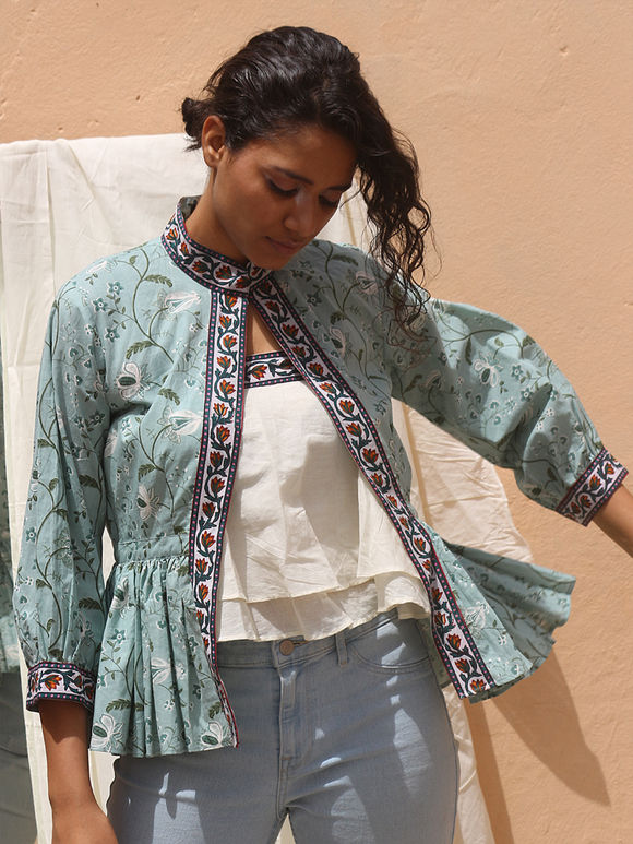 Off White Double Layered Cotton Mulmul Tube Top with Aqua Blue Hand Block Printed Jacket - Set of 2