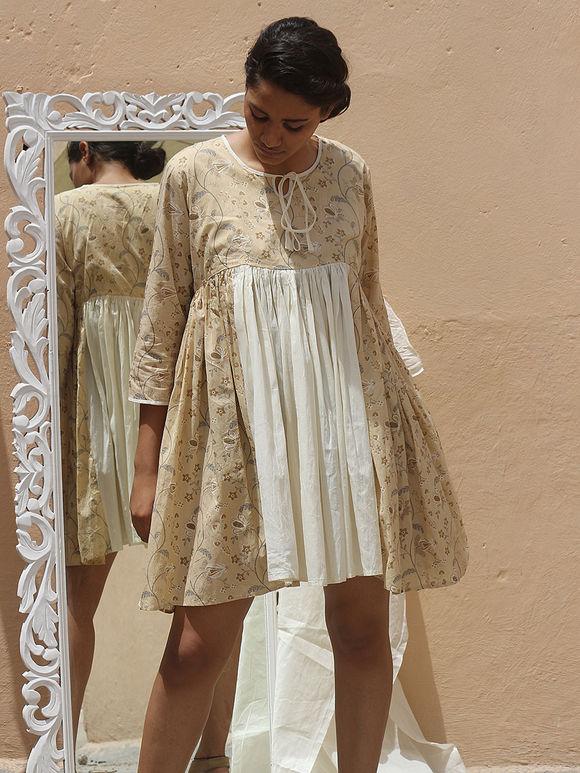 Off White Beige Hand Block Printed Cotton Mulmul Dress