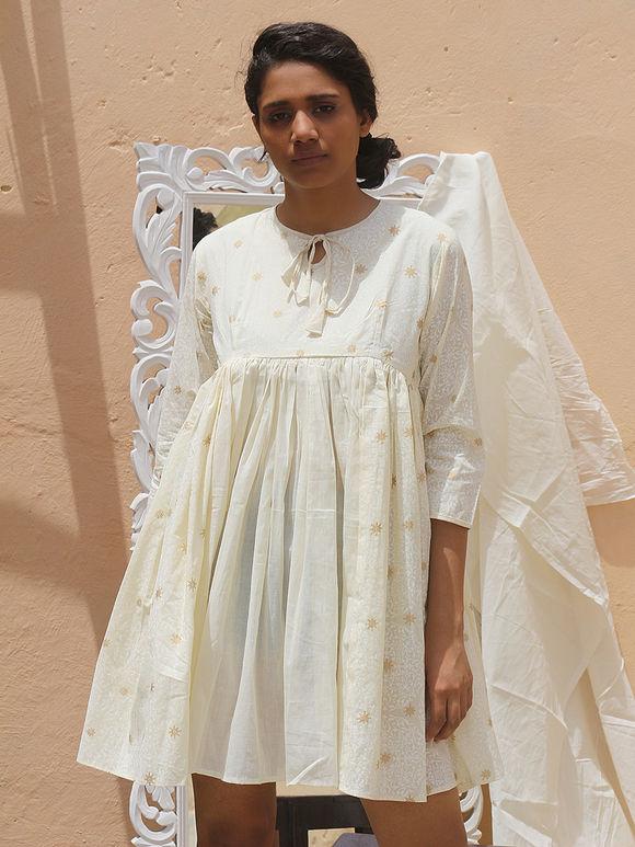 Off White Hand Block Printed Cotton Mulmul Dress