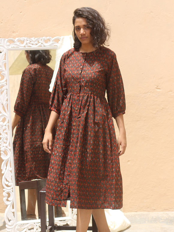 Brown Hand Block Printed Cotton Shirt Dress