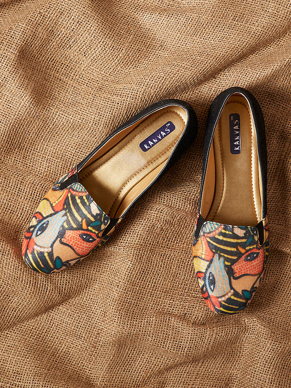Multicolor Handcrafted Madhubani Leather Silk Loafers