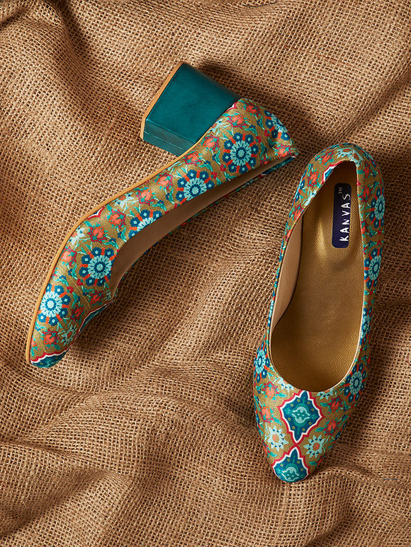 Green Handcrafted Mughal Printed Leather Silk Block Heels