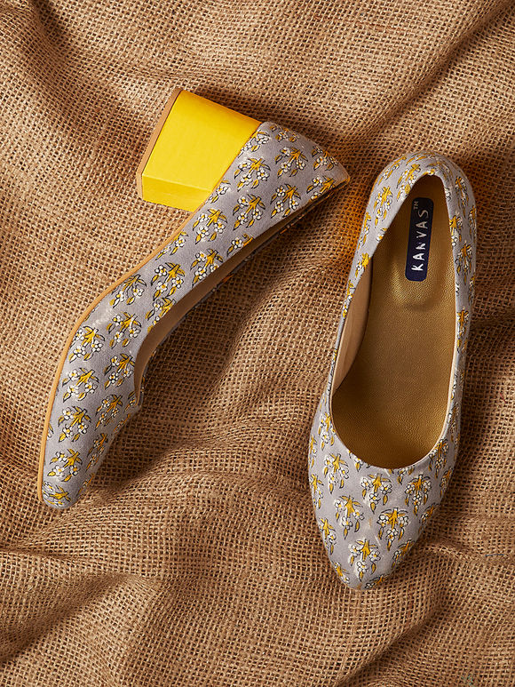 Grey Yellow Handcrafted Mughal Printed Cotton Block Heels