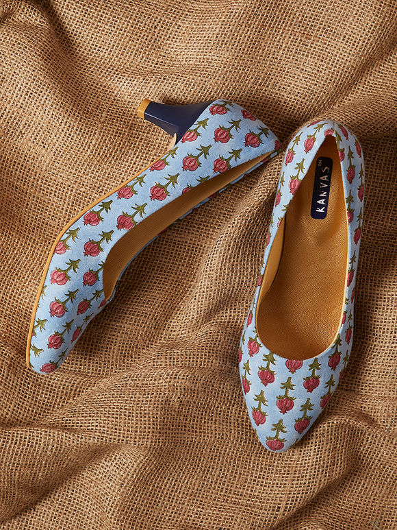 Powder Blue Handcrafted Floral Printed Cotton Heels