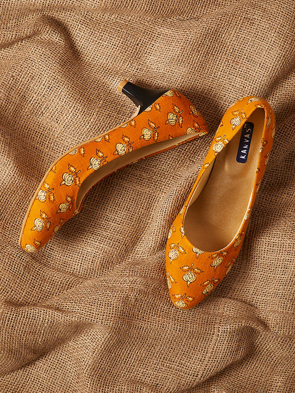 Orange Handcrafted Printed Cotton Heels