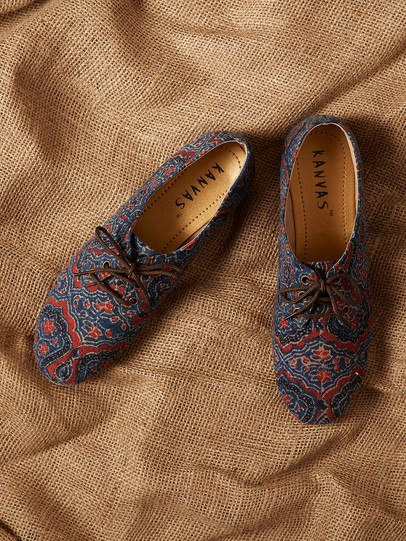 Red Blue Handcrafted Ajrakh Printed Canvas Shoes