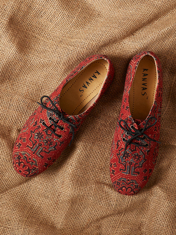 Red Handcrafted Ajrakh Printed Canvas Shoes