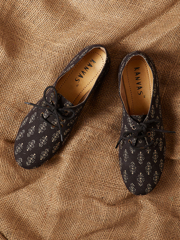 Black Handcrafted Hand Block Printed Cotton Shoes