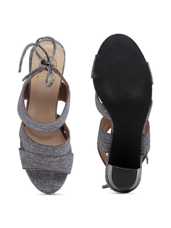 Denim Canvas Block Heels
